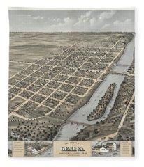 Bird's Eye View Of Geneva, Kane County, Illinois 1869 Fleece Blanket