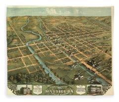 Bird's Eye View Of Massillon, Stark County, Ohio 1870 Fleece Blanket