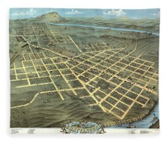 Birds Eye View Of The City Of Chattanooga, Hamilton County, Tennessee 1871 Fleece Blanket