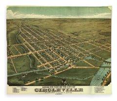 Birds Eye View Of The City Of Circleville, Pickaway County, Ohio 1876 Fleece Blanket