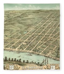 Bird's Eye View Of The City Of Clarksville, Montgomery County, Tennessee 1870 Fleece Blanket