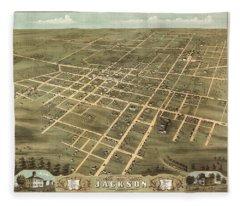 Bird's Eye View Of The City Of Jackson, Madison County, Tennessee 1870 Fleece Blanket
