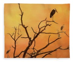 Birds In An African Sunset Fleece Blanket