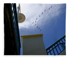 Birds In Formation Over The Boardwalk At Daytona Beach Florida Fleece Blanket