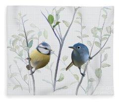 Birds In Tree Fleece Blanket