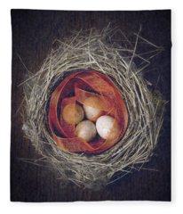 Bird's Nest With Eggs And Ribbon Fleece Blanket