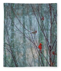Birds On A Snowy Day Fleece Blanket