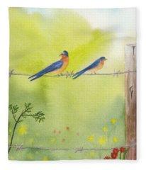 Birds On A Wire Barn Swallows Fleece Blanket