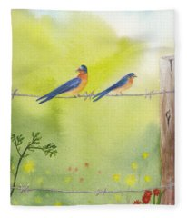 Birds On A Wire Barn Swallows Fleece Blanket