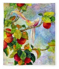 Birds On Apple Tree Fleece Blanket