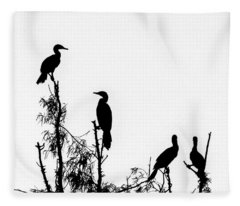 Birds Perched On Branches Fleece Blanket