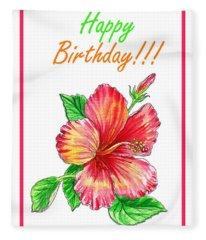 Birthday Hibiscus Fleece Blanket