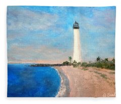 Biscayne Lighthouse Fleece Blanket