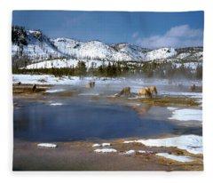 Biscuit Basin Elk Herd Fleece Blanket