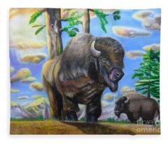 Bison Acrylic Painting Fleece Blanket