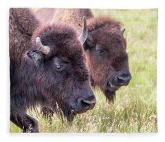 Bison Closeup View Fleece Blanket