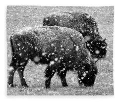 Bison In Snow Fleece Blanket