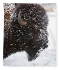 Bison In Snow Fleece Blanket