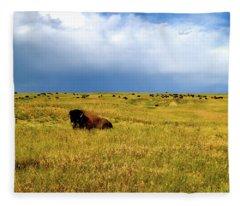Bison In The Badlands Fleece Blanket
