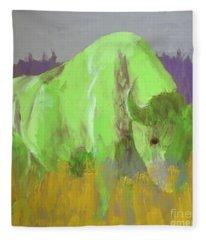 Bison On The American Plains Fleece Blanket