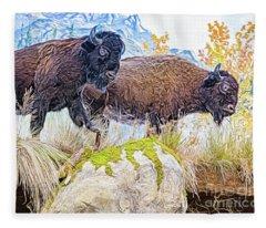 Bison Pair Fleece Blanket