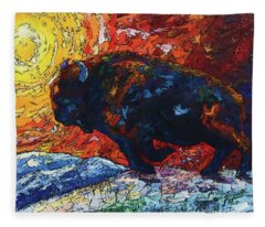 Bison Running Print Of Olena Art Wild The Storm Oil Painting With Palette Knife  Fleece Blanket