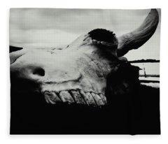 Bison Skull Black White Fleece Blanket