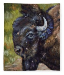 Bison Study 5 Fleece Blanket
