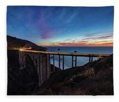 Bixby Bridge Sunset Fleece Blanket