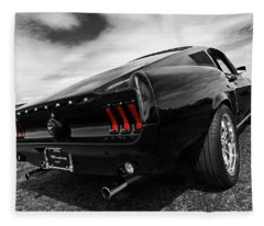 Black 1967 Mustang Fleece Blanket