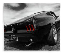 Black 1967 Mustang Fleece Blanket