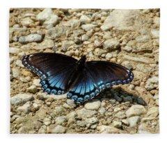 Black And Blue Monarch Butterfly Fleece Blanket