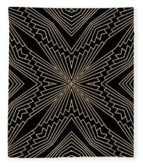 Black And Gold Art Deco Filigree 003 Fleece Blanket