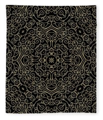 Black And Gold Filigree 002 Fleece Blanket