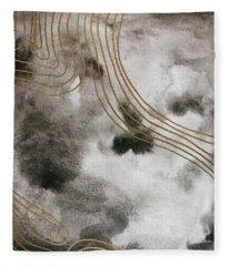 Black And Gold Watercolor Fleece Blanket