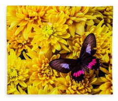 Black And Red Butterfly Fleece Blanket