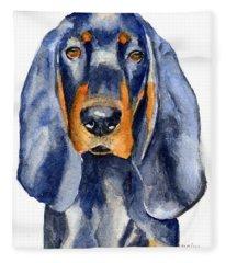 Black And Tan Coonhound Dog Fleece Blanket
