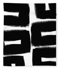 Black And White Abstract- Abstract Painting Fleece Blanket