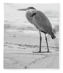 Black And White Blue Heron Alabama  Fleece Blanket
