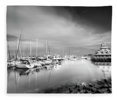 Black And White Bluewater Boathouse An Marina Fleece Blanket