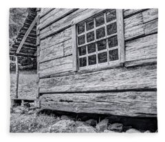 Black And White Cabin In The Forest Fleece Blanket