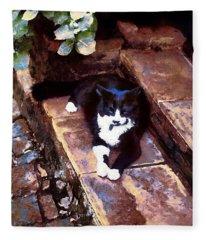 Black And White Cat Resting Regally Fleece Blanket