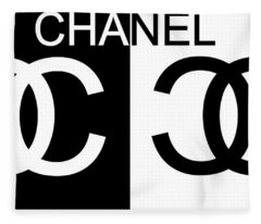 Black And White Chanel 2 Fleece Blanket