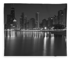 Black And White Chicago Skyline At Night Fleece Blanket