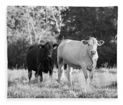 Black And White Cows Fleece Blanket