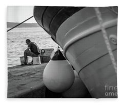Black And White - Fisherman Cleaning Fish On Docks Of Kastel Gomilica, Split Croatia Fleece Blanket