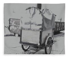 Black And White German Stroller Fleece Blanket