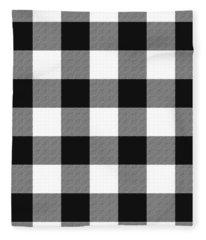 Black And White Gingham Large- Art By Linda Woods Fleece Blanket