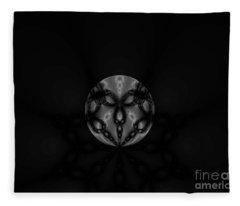 Black And White Globe Fractal Fleece Blanket