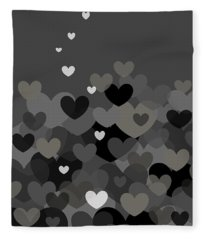 Black And White Heart Abstract Fleece Blanket